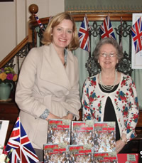Hastings MP Amber Rudd supports Victoria at the patriotically themed launch of Victory's Children