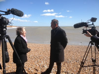 Bbeing interviewed on Hastings Beach by Anthony Horowitz, creator of Foyle's War, for  a TV feature on the 70th anniversary of the end of WWII